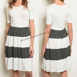 🆕 BLAIR Charcoal Striped 3/4 Sleeve Midi Dress